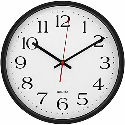 Large Decorative Wall Clock - Universal Non - Ticking- by Utopia Home (Black)
