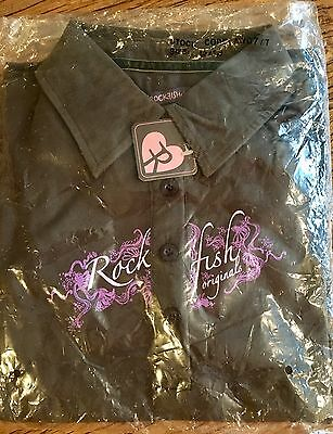 Rockfish Riders Polo Top Long Sleeve Brown with Pink / Purple & Corduroy Collar