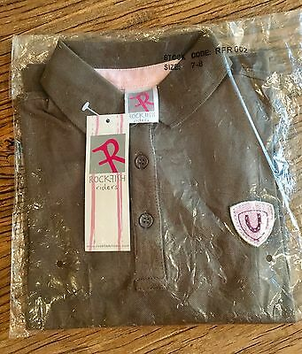 Rockfish Riders Polo Shirt Mid Length Sleeves Brown With Pink Children's Kids