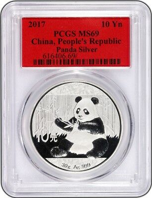 2017 10 Yuan China Silver Panda Coin 30 Grams .999 Silver PCGS MS69 - Red Label