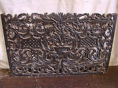 Antique Late 1800's Cast Iron Fireplace Cover Insert Very Ornate Design Art