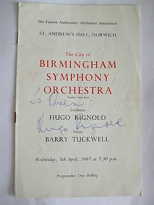 BIRMINGHAM SYMPHONY ORCHESTRA Signed by HUGO RIGNOLD St Andrews Hall NORWICH 196
