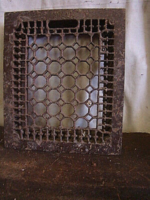 Antique Late 1800'S Cast Iron Heating Grate Cover Honeycomb Design 14 X 12