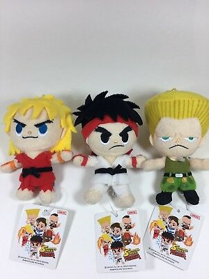 STREET FIGHTER Capcom KEN RYU GUILE Lot of 3 Plush Collectible Japanese Anime