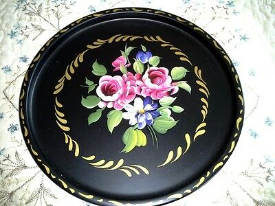 Vintage Tole Tray NEAR MINT Hand Painted French Country Blue Aster Pink Roses