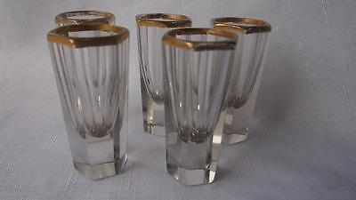 5 x Antique European Crystal Glass Liquor Shot Glasses - Hexagonal w. Gold Rim