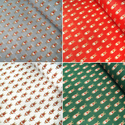 100% Cotton Fabric Lifestyle Christmas Rudolph In Lines Reindeer 140cm Wide