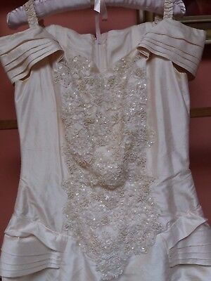 Wedding? Dress Theatre Costume Ivory Silk Pearls Lace Small