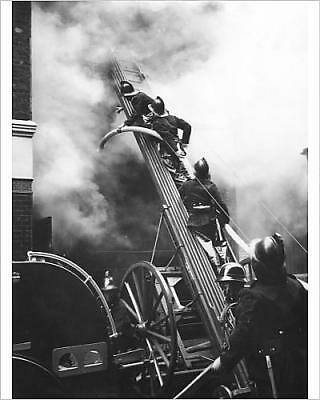 """10""""x8"""" (25x20cm) Print Firefighters in action, Eagle Street, London..."""