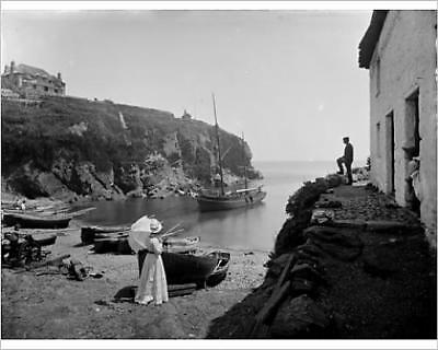 """10""""x8"""" (25x20cm) Print of The Harbour, Cadgwith, Cornwall. 1908"""