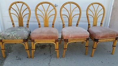 Rattan Dining Chairs - set of 4- Vintage Tropical -Palm Springs Bamboo Style
