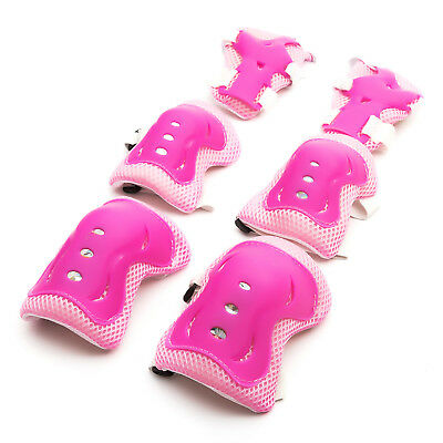 Kids 3-12 Yr Knee Elbow Wrist Pad Set Pink Cycling Toy Ice Skating Balance Bike