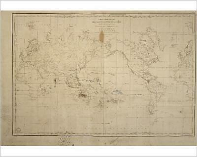"""10""""x8"""" (25x20cm) Print Map of the world with annotations by Darwin ..."""