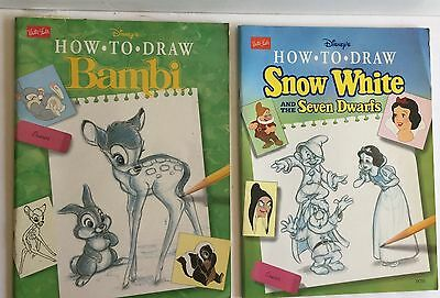 Lot Of 2 Walter Foster Snow White And Seven Dwarfs And Bambi How To Draw