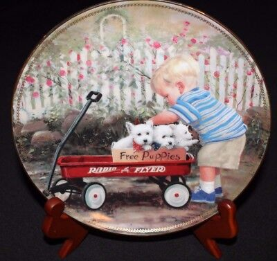 """Danbury Mint Donald Zolan Limited-Edition Collector Plate """"puppy Love"""""""