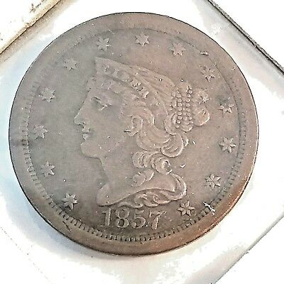 Key Date  1857 Us Half Cent  Early Copper