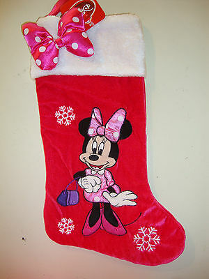 Disney Minnie  Mouse  Appliqued / Embroidered Christmas Stocking Nwts