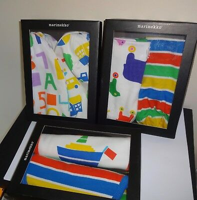 3 Marimekko Baby Hats Bibs Boxed Sets Stripes, Boats Toys Print MUKSU PAAPO