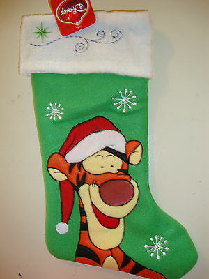 """Disney  Pooh  """"tigger"""" Appliqued / Embroidered Christmas Stocking Nwts"""