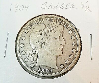 1904 Barber Half Dollar better date better condition VG++/F SO close to full lib