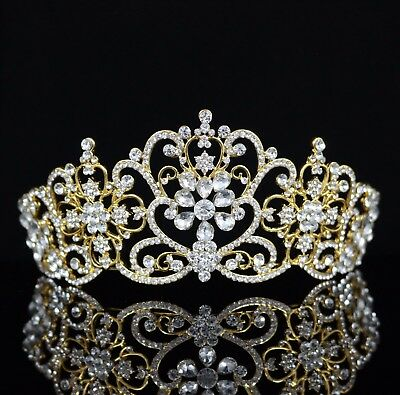 Floral Austrian Crystal Rhinestones Tiara Crown Bridal Pageant Prom Party T27g
