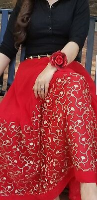 Beautiful formal red and black  chiffon dress/ lehenga with  embroidered border.