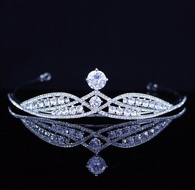 Princess CZ Stone & Austrian Rhinestones Tiara Crown Bridal Prom Party Wed T29
