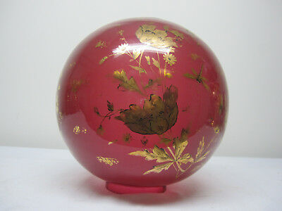 """Rare Antique Cranberry Gold Decorated 11"""" Ball Shade"""
