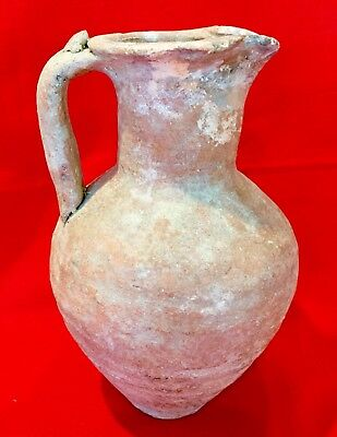 LARGE TERRACOTTA ONE TREFOIL SPOUTED ROMAN PITCHER ARTIFACT ca: 1-200AD
