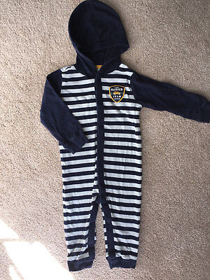 Carter's Baby Boy 18 Months Hooded Footless One-Piece Blue Stripe