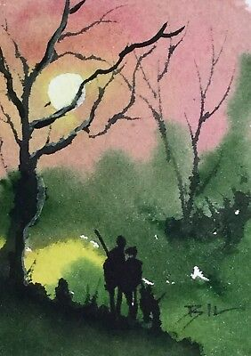 ACEO Original Art Watercolour Painting by Bill Lupton - Late One Evening