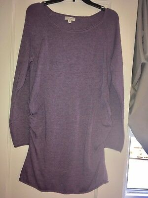 Large liz lange maternity sweater tunic in purple