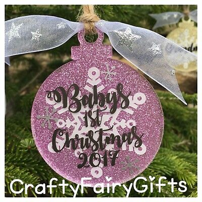 Personalised Baby's First 1St Christmas Bauble Present Gift 2017 Glitter