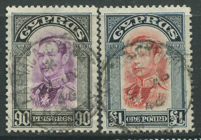 Cyprus KGVI 1938 high values 90 piastres & £1 used