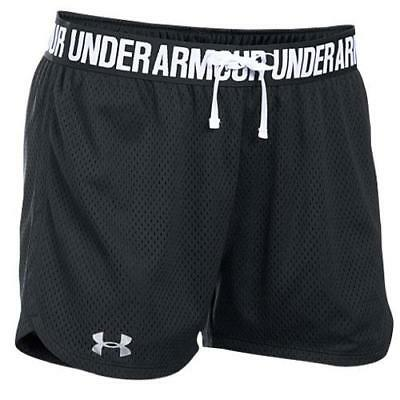 Under Armour Women's L Large Play Up Mesh Shorts Black LG/G
