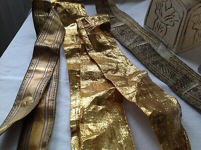 Antique Metallic Trims Golden & Silver Braids 3pc Upholstery Furnishing Projects