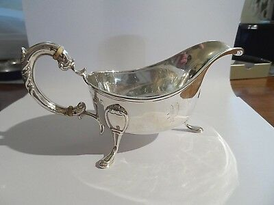 Beautiful Quality Heavy Antique Solid Silver Scottish Gravy Boat c1894-163g