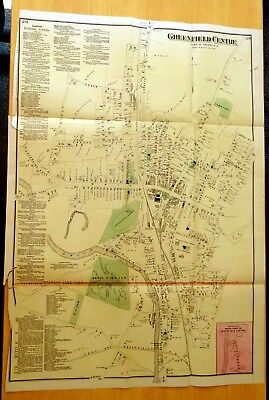 1871 Antique Map GREENFIELD CENTRE, MA Massachusetts HUGE Hand-Colored DETAILED