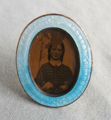 Antique Miniature German Silver And Guilloche Enamel Frame