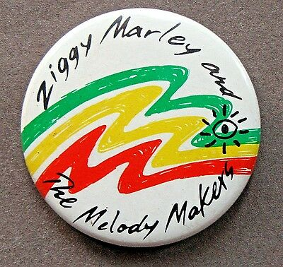 """ZIGGY MARLEY AND THE MELODY MAKERS 1.75"""" celluloid pinback button REGGAE"""