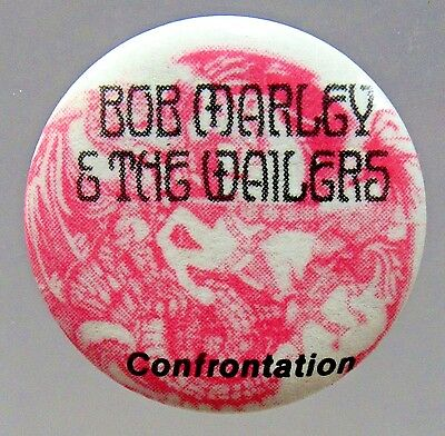 """BOB MARLEY & THE WAILERS CONFRONTATION 1.25"""" celluloid pinback button REGGAE"""