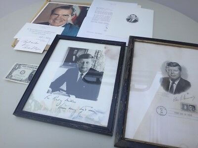 Auth President JFK/John Kennedy Signed/AUTOGRAPH Photo+STAMP+NIXON ENGRAVING