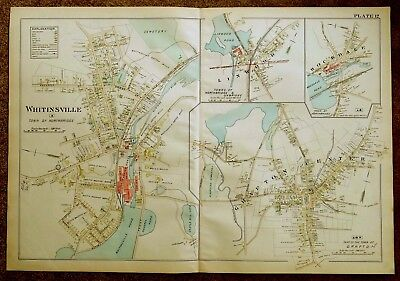 Antique Hand-Colored Map 1898 Whitinsville, Grafton Center ++ MA Massachusetts