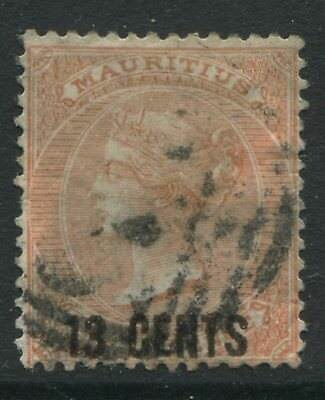 Mauritius QV 1878 13 cents on 3d orange red used