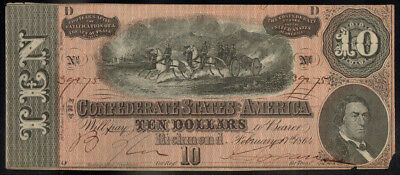 1864 $10 Dollar Bill Confederate States Currency Civil War Note Money