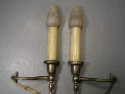 Pair Antique Single Light Sconces  Mazda Flame Bulb P&S Pull Chain Socket Works