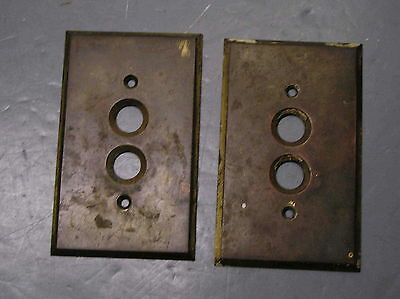 Antique 2 Button Switch Plate Perkins Arrow Solid Brass Pat Nov 3 1903 Cover Old