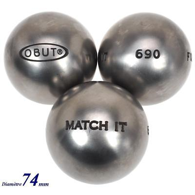 Boules de pétanque Obut Match 115.it  inox 74mm Gris 57229 - Neuf