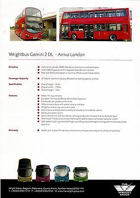 Bus Manufacturer Specification Sheet ~ Wrightbus Gemini 2DL: Arriva London: 2010
