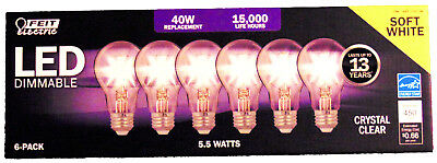 FEIT 40w Dimable LED Replacement Bulbs using 4.5W Soft White A19 6 Pack 2700k